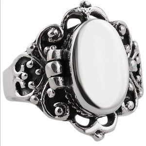 Sterling Silver Engravable Poison / Locket Ring